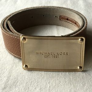 Michael Michael Kors Camel Leather Gold Tone Belt